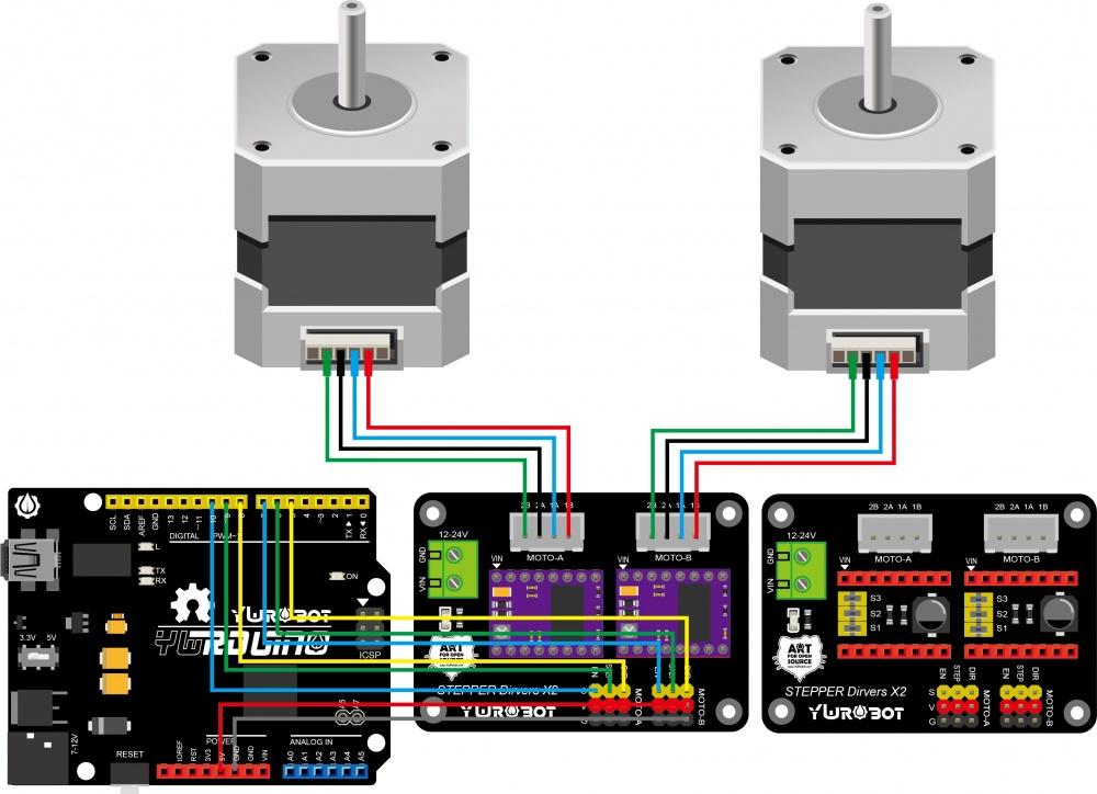 42步进电机驱动电路_(SKU:ELB060414)双路42步进电机驱动器扩展板 8825/A4988 - YwRobot Studio Wiki